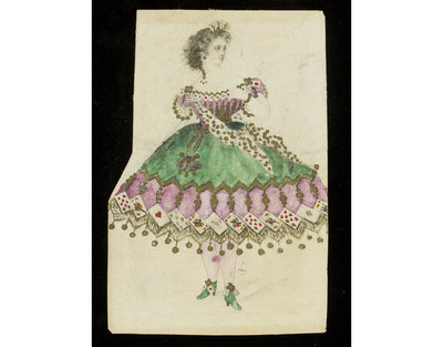 Fashion design, woman's masquerade ball dress. Playing card theme. Watercolour drawing, probably for Charles Frederick Worth. Paris, 1860s. Watercolour drawing, a design for a theatrical or masquerade fancy-dress ball costume.  Watercolour and pencil drawing.