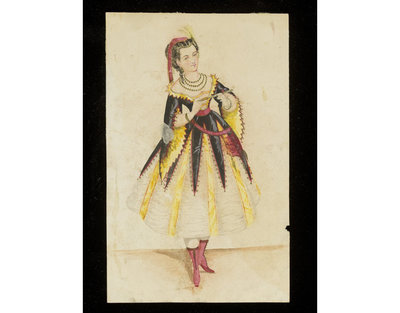 Fashion design, woman's masquerade ball dress. Unknown subject. Watercolour drawing probably by Jules Marre or Léon Sault for Charles Frederick Worth. Paris, 1860s. Watercolour drawing, a design for a theatrical or masquerade fancy-dress ball costume.  Watercolour and pencil drawing.