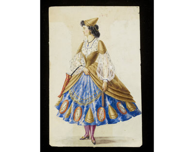 Fashion design, woman's masquerade ball dress. Unknown subject, possibly related to firemen or weather forecasting. Watercolour drawing probably by Leon Sault for Charles Frederick Worth. Paris, 1860s. Watercolour drawing, a design for a theatrical or masquerade fancy-dress ball costume.  Watercolour and pencil drawing.