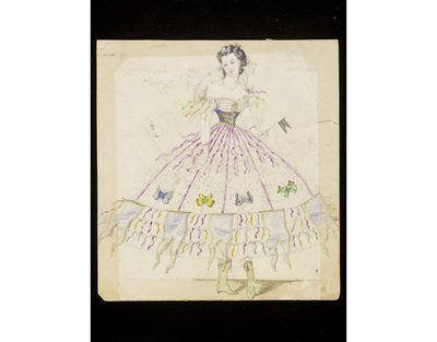 Fashion design, woman's masquerade ball dress of ruched tulle trimmed with ribbons and butterflies. Watercolour drawing probably by Léon Sault for Charles Frederick Worth. Paris, 1860s. Watercolour drawing, a design for a theatrical or masquerade fancy-dress ball costume.  Watercolour and pencil drawing.