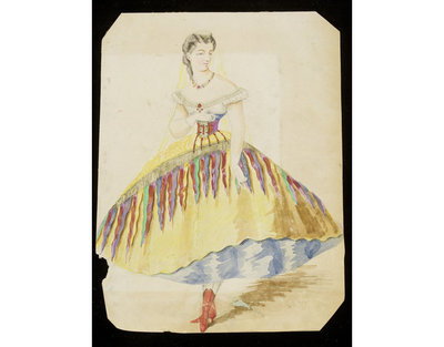 Fashion design, woman's masquerade ball dress trimmed with bunting. Watercolour drawing probably by Jules Marre or Léon Sault for Charles Frederick Worth. Paris, 1860s. Watercolour drawing, a design for a theatrical or masquerade fancy-dress ball costume.  Watercolour and pencil drawing.