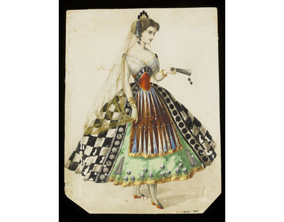 Fashion design, woman's masquerade ball dress. Backgammon and checkers theme. Watercolour drawing possibly by Léon Sault, probably for Charles Frederick Worth. Paris, 1860s. Watercolour drawing, a design for a theatrical or masquerade fancy-dress ball costume made to represent games, including draughts or checkers and backgammon.  Watercolour and pencil drawing.