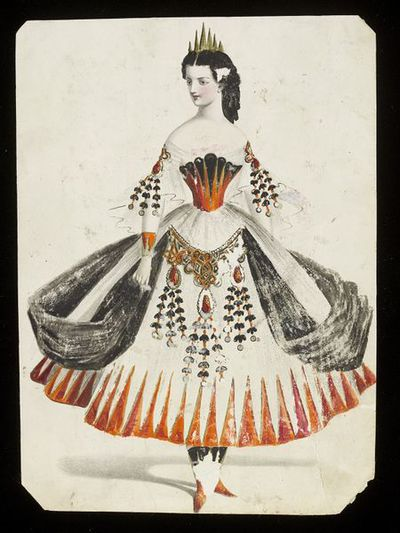Fashion design, woman's masquerade ball dress. Unknown subject. Watercolour drawing by Jules Helleu, probably for Charles Frederick Worth. Paris, 1860s. Watercolour drawing, a design for a theatrical or masquerade fancy-dress ball costume. An orange and black crinoline dress with metalwork decoration and hanging black and orange ornaments.  Watercolour and pencil drawing.