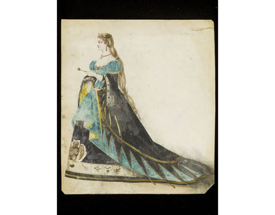 Fashion design by Léon Sault. Woman's masquerade ball dress probably representing the queen of a deck of cards. Probably for Charles Frederick Worth. Paris, 1860s. Watercolour drawing, a design for a theatrical or masquerade fancy-dress ball costume.  Watercolour and pencil drawing.