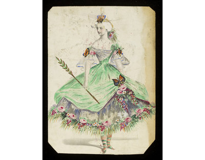 Fashion design, woman's masquerade ball dress. Unknown subject (possibly Flora). Watercolour drawing by Jules Helleu, probably for Charles Frederick Worth. Paris, 1860s. Watercolour drawing, a design for a theatrical or masquerade fancy-dress ball costume.  Watercolour and pencil drawing.