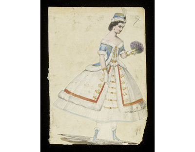Fashion design, woman's masquerade ball dress, winter-themed unknown subject. Watercolour drawing possibly by Jules Helleu or Léon Sault, probably for Charles Frederick Worth. Paris, 1860s. Watercolour drawing, a design for a theatrical or masquerade fancy-dress ball costume.  Watercolour and pencil drawing.