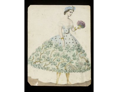 Fashion design, woman's masquerade ball dress representing a forest at night. Watercolour drawing by Jules Helleu or Léon Sault, probably for Charles Frederick Worth. Paris, 1860s. Watercolour drawing, a design for a theatrical or masquerade fancy-dress ball costume.  Watercolour and pencil drawing.