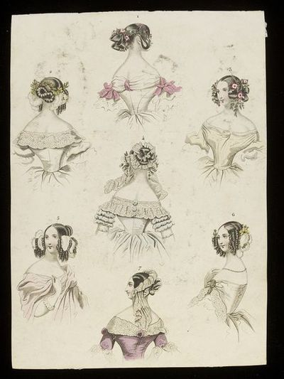 Caps, hairstyles and dress bodices. Unknown publication, probably Le Follet or the Journal des Dames et des Modes. Early 1840s. Engraving showing a group of hat, hairstyle, cap and dress neckline designs