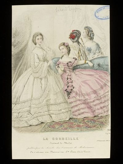 Heloïse Leloir. Wedding dress and evening dresses and hairstyles. La Corbeille, France, 1 January 1862. Engraving showing a woman in a wedding dress and veil, white with lace frills, standing far left, a woman seated on a sofa in a pink evening dress trimmed with roses, and behind the sofa, two women in evening dress with elaborate hairstyles shown from the back and side.