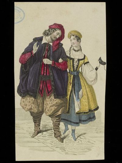 Unknown. Designs for male and female fancy dress costume, possibly based on Russian, Turkish or Ottoman historic costume. French, c.1840s. Fashion plate, cropped down, showing a man and woman in fancy dress costume probably based on Russian, Ottoman or Turkish historic dress. The man in a red turban and doublet with voluminious brown pantaloons tucked into knee boots and a purple mantle; the woman in a yellow brocade tunic and blue petticoat and sash with a kokoshnik style headdress, holding a masquerade mask in one hand.