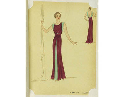 Madame Handley-Seymour. Maroon silk evening dress with mint green underdress. London, Autumn 1936. One of 4863 fashion designs bound in one of 48 volumes.Pencil, pen and ink, and watercolour