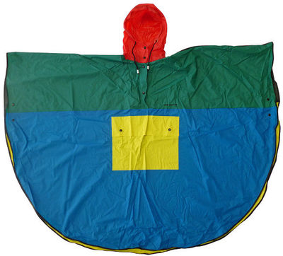 Poncho rain cape and carrying bag, waterproofed nylon, designed by Mary Quant, Great Britain, 1970-1980s.Semi-circular poncho in thin waterproof nylon with a drawstring hood and patch pocket on the front. Accompanied by a drawstring carrying pouch bag.Waterproofed nylon.