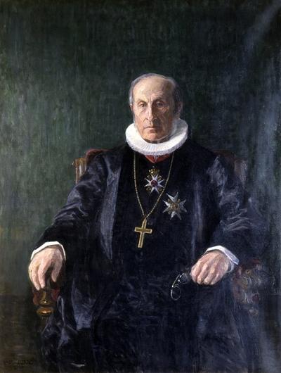 Biskop Arnoldus Marius Hille. Biskop i Hamar 1887-1906. Malt av Lars Jorde.