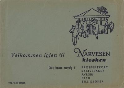 Konvolut fra Narvesen kiosken, Det beste utvalg i prospektkort, skrivesaker, aviser, blad og billigbøker.