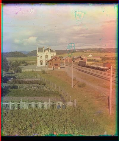 Levanger jernbanestasjon med grønnsakshager i forgrunnen, sett fra sør.