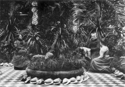 Sinsen gård, interiør, vinterhage, palmer, planter, kvinner3
