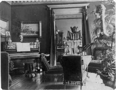 interiør, stue, salong, piano, malerier