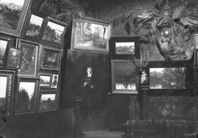 interiør, utstillingslokale, kunstutstilling, malerier