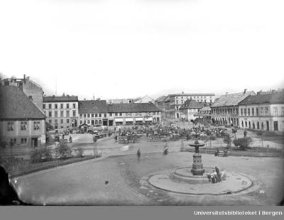 Den lyse bygningen til venstre er Christiania Bank og Kredittkasse