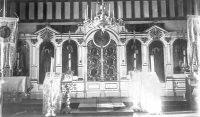 Ikonostasen (billedveggen) i Boris Glebs kirke