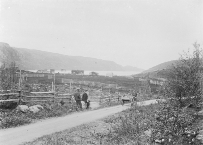 Parti av Langvasseid i Langfjorddalen. Anton Hessengets hus i bakgrunnen.