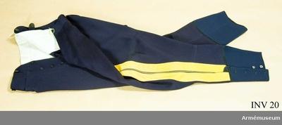 Ridbyxor m/1895, Ridbyxor m/1895 för general vid Generalitetet : Mörkblå klädesdiagonal med dubbla klädeslister och emellan dem en gul passpoal. 6 knappar av svart bakelit i gylfen.  Byxbenen slutar strax under vaden där de knäpps med resp. 5 knappar av pärlemor.  Har för ridbyxor s.k. vid tillskärning. Har tillhört Gustav VI Adolf (1882-1973).