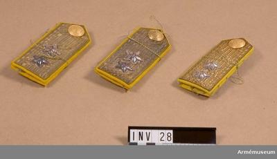 Axelklaff, Axelklaff m/1910-23, generallöjtnant, Generalitetet. 3 st. : Klaffarna täckta av generalsgaloner. Försedda med två  stjärnor av silvertråd. 1 knapp i matt guldfärg för  generalitetet.