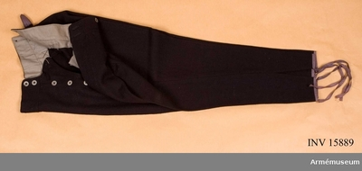 Byxor m/1922, Byxor m/1922 för luftstridskrafter, Finland : Grupp C I. Byxor av mörkblått ylle, militärtyg, stövelmodell med två fickor på sidan, sprund med två fickor på sidan, sprund med fem järnknappar och sex samma knappar för hängslen. På baksidan spänntamp av kläde. Foder av grått tyg. På fodret står en stämpel på finska: