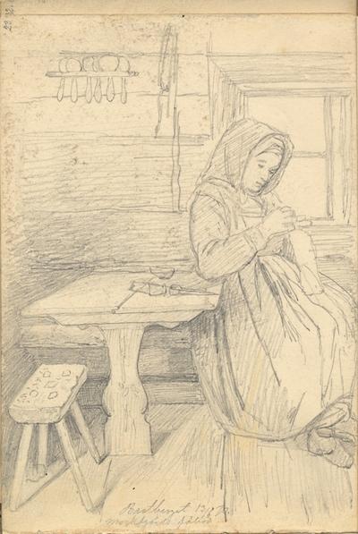 Blyertsskiss. Interiör. Bastberget 13/6 Mockfjärds fäbod. En kvinna sitter invid ett fönster och handarbetar. Ur Skissbok av A. J.G. Virgin