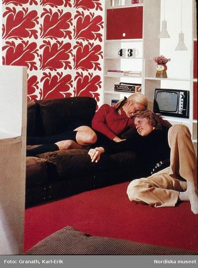 Interiör : Vardagsrum Kvinna Man Möbler Ungdom