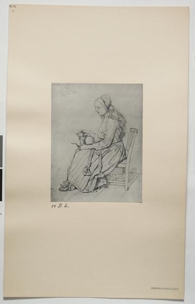 Teckning av flicka med katt. Magdalena N.D Hälsingland.
