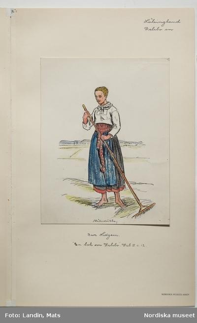 Akvarellerad teckning av kvinna med räfsa.