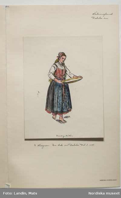 Akvarellerad teckning av kvinna med såll,