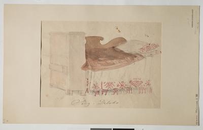 Akvarellerad teckning av J. W. Wallander. Säng