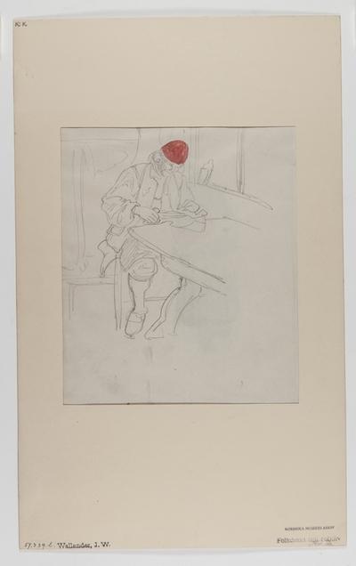 Delvis akvarellerad handteckning av J W Wallander. Mansdräkt från Mora. En man sittande vid ett bord. Nordiska museets inventarienummer 57339L