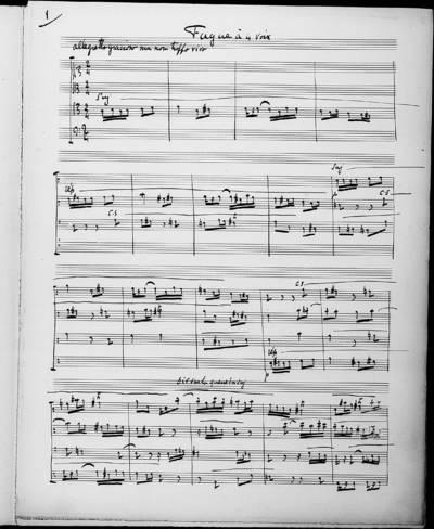 Fugue à Quatre Voix. 11 Novembre 1895 (10 heures)