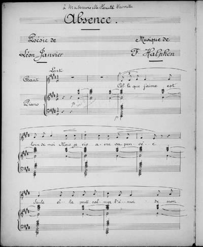Absence en C#m. daté 21 Mars 1896