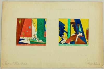 Bühnenbilder zu einem modernen Stück, Blatt 2 - Der Salon III / Dachkammer IV