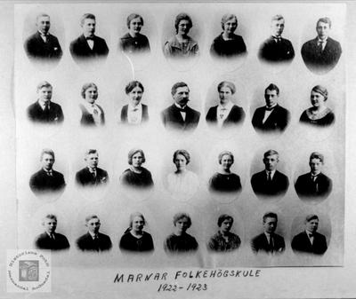 Elever ved Marnar Folkehøgskole 1922-1923