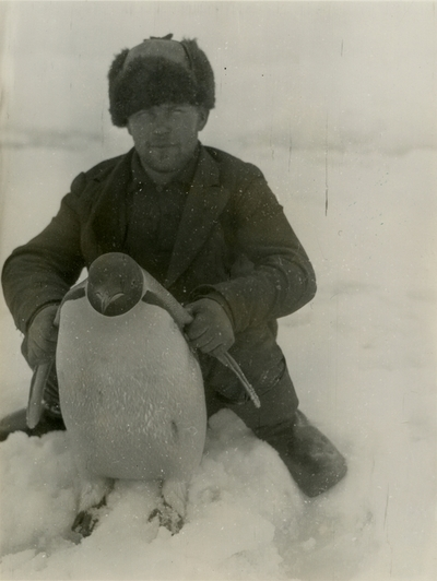 Hvalbåtsmatros med pingvin