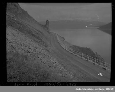 Vei med føringskantgjerde ved fjord i Stallogargo