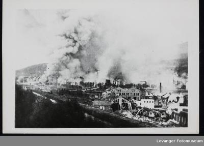 Utbombede hus i Narvik
