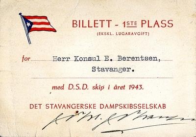 Innskrift:Billett 1ste plass for Herr Konsul E