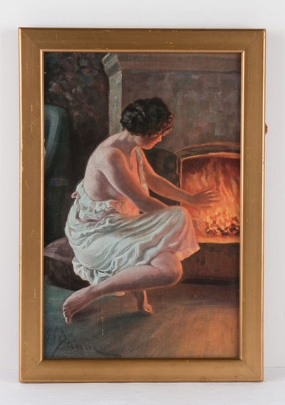 Ukjent tittel (kvinne foran peisen)