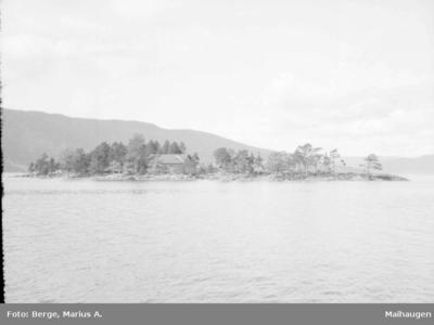 Holme med bygning på Randsfjorden
