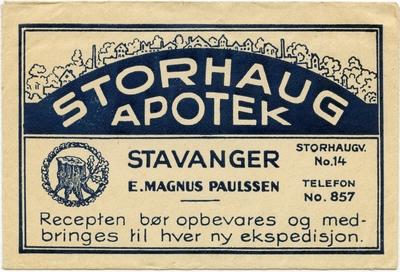 Reseptkonvolutt fra Storhaug apotek i Stavanger