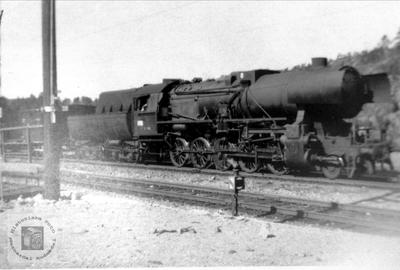 Damplokomotiv på Breland stasjon