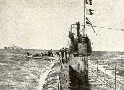 Mannskap fra dampskip blir tatt om bord i ubåt