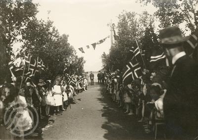 Skolebarn med flagg danner espalier i en bjørkeallé på dampskipskaia