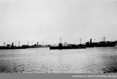 Oppankret tysk konvoi i Nærøysundet på Rørvik under 2